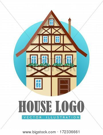 House logo. Old half-timbered house flat vector illustration isolated on white background. Comfortable fachwerk dwelling icon. Ecological construction. For building, architectural, estate company ad poster