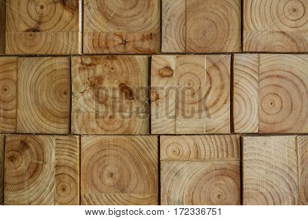 Abstract background of square shape of wood wall