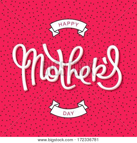 Happy Mothers Day. Funny greeting poster in 80-90s style. Vector design elements.