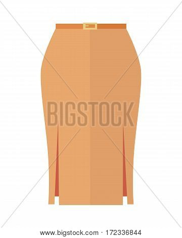 Orange pencil skirt with belt icon. Women everyday clothing in casual style flat vector illustration isolated on white background. For clothing store ad, fashion concept, app button, web design