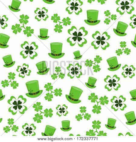 Vector illustration of seamless pattern background with four leaved green clover, hat for saint Patricks day greeting isolated on white background