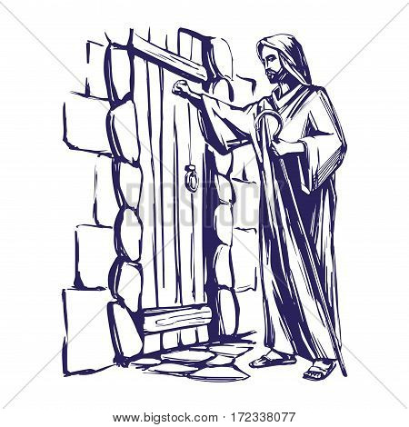 Jesus Christ, Son of God knocking at the door, symbol of Christianity hand drawn vector llustration sketch