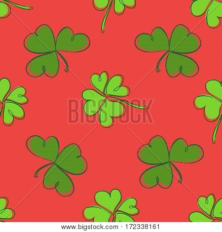 Clover Seamless Pattern. Clover Pattern With Three And Four Leaf Green On Red Background. St. Patric