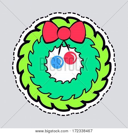 Christmas wreath with red bow and ribbon patch. Decorated wreath of pine branches isolated on white. Vector image for new year s day, christmas, decoration, winter holiday, design, new year s eve.