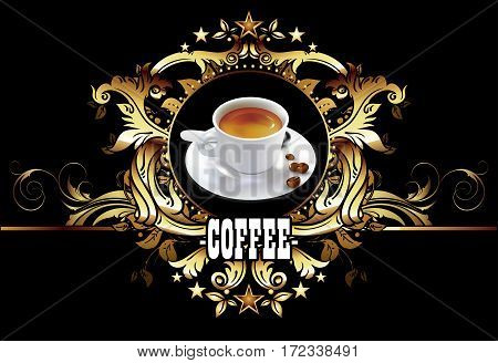 cup of coffee in a decorative frame with vintage style