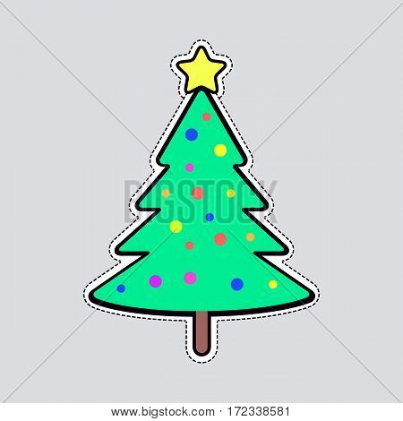 Illustration of isolated Christmas tree with colourful balls and bright yellow star on top patch. Cut out of paper. Evergreen tree on wooden stem. Xmas toy in simple cartoon design. Front view. Vector