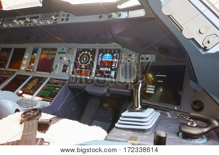 HONG KONG - CIRCA NOVEMBER, 2016: cockpit of Emirates Airbus A380. The Airbus A380 is a double-deck, wide-body, four-engine jet airliner.
