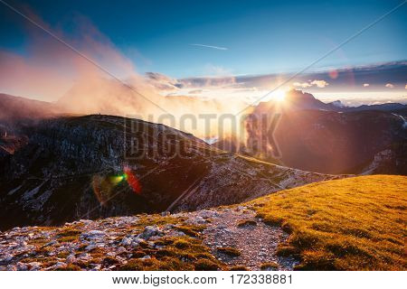 Scenic surroundings of the national park Tre Cime di Lavaredo. Dramatic and gorgeous scene. Location place Misurina, Dolomiti alp, South Tyrol, Italy, Europe. Beauty world. Artistic picture.