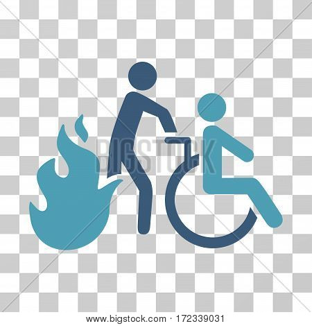 Fire Patient Evacuation vector pictograph. Illustration style is flat iconic bicolor cyan and blue symbol on a transparent background.