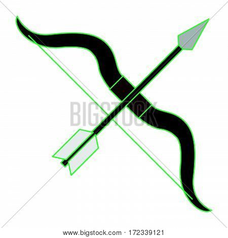 simple bow and arrow as sagittarius icon vector