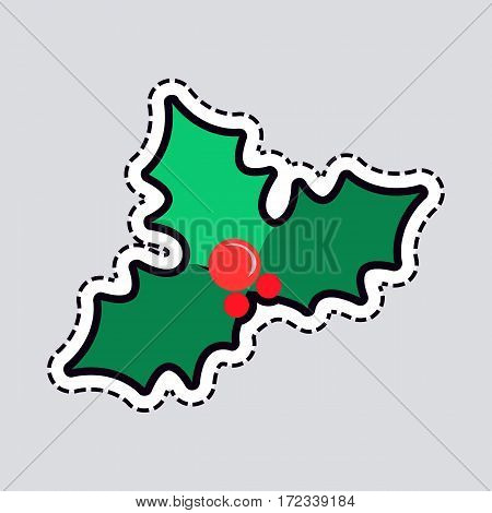 Mistletoe Christmas tree with red balls top view. Green branches of pine. Cut out of paper. Simple cartoon style. part of evergreen tree. Front view. Patch New Year. Flat design. Vector illustration