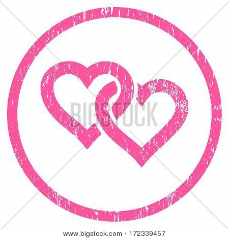 Linked Hearts grainy textured icon for overlay watermark stamps. Rounded flat vector symbol with scratched texture. Circled pink ink rubber seal stamp with grunge design on a white background.