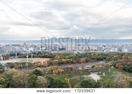 Aerial View of Osaka city in autumn Kansai Japan.