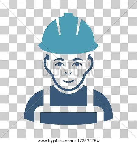 Glad Worker vector icon. Illustration style is flat iconic bicolor cyan and blue symbol on a transparent background.