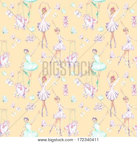 Seamless pattern with watercolor ballet dancers, puppet unicorns, butterflies and pointe shoes, hand drawn isolated on an orange background