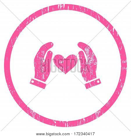 Love Heart Care Hands grainy textured icon for overlay watermark stamps. Rounded flat vector symbol with scratched texture. Circled pink ink rubber seal stamp with grunge design on a white background.