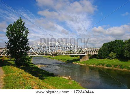 Railway Bridge Over San River In Przemysl, Poland