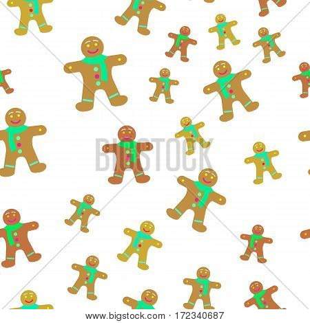Gingerbread man decorated colored icing seamless pattern. Holiday cookie in shape of man. For new year s day, christmas, winter holiday, cooking, new year s eve. Wallpaper design endless texture.