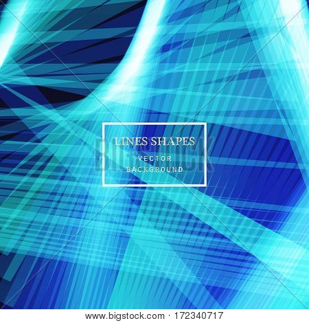 Modern technology striped abstract background vector. Blue stripes waves lines for presentation banner brochure poster website and flyer design. Contrast colors grid