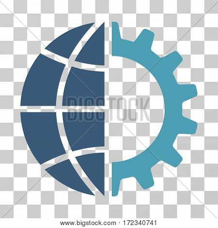 Global Industry vector icon. Illustration style is flat iconic bicolor cyan and blue symbol on a transparent background.