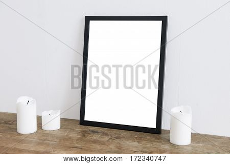 Empty frame on wall where you can place your own text
