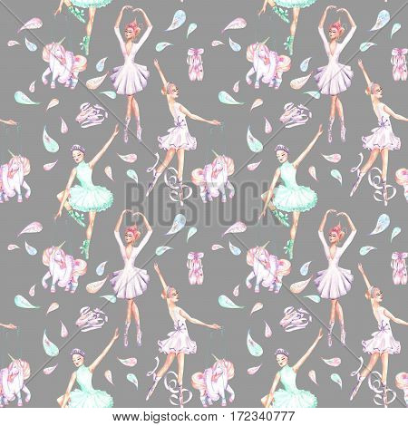 Seamless pattern with watercolor ballet dancers, puppet unicorns, feathers and pointe shoes, hand drawn isolated on a grey background