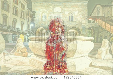 Piazza Vecchia, Citta Alta, Bergamo, Italy. Night view on the square with the beautiful fountain in the center. Modern Painting. Brushed artwork based on photo.