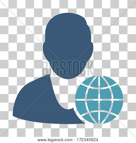 Global Manager vector pictograph. Illustration style is flat iconic bicolor cyan and blue symbol on a transparent background.