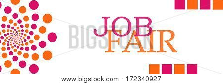 Job fair text written over pink orange background.