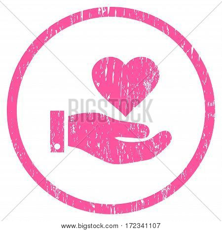 Love Heart Offer Hand grainy textured icon for overlay watermark stamps. Rounded flat vector symbol with unclean texture. Circled pink ink rubber seal stamp with grunge design on a white background.