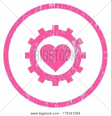 Love Heart Options Gear grainy textured icon for overlay watermark stamps. Rounded flat vector symbol with scratched texture.