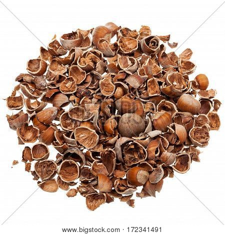 Pile of empty nutshells isolated on white background