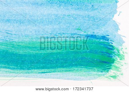 Macro shot of abstract hand drawn blue and green watercolor paints background