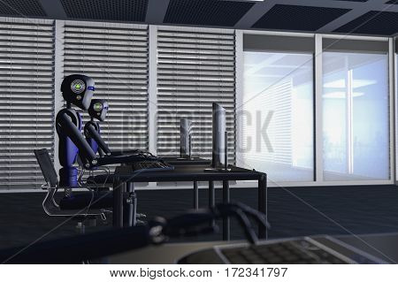 We are the robots, robots in a big office /3d rendering