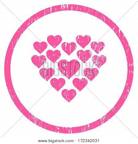 Love Hearts Shape grainy textured icon for overlay watermark stamps. Rounded flat vector symbol with scratched texture. Circled pink ink rubber seal stamp with grunge design on a white background.