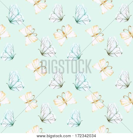 Seamless pattern with watercolor tender butterflies, hand drawn isolated on a blue background
