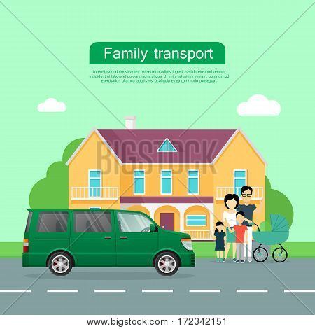 Family transport banner. Big family with children standing near house and minivan flat vector illustrations. Buying new car for family needs. Spacious minibus. For car dealer landing page design