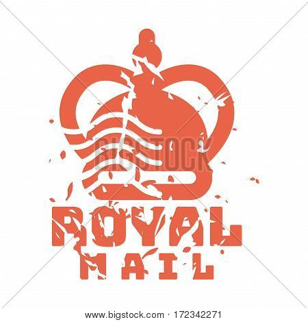Vector vintage postage royal mail stamp. Retro delivery envelope grunge print. Postmark design correspondence sign. Antique communication template texture.