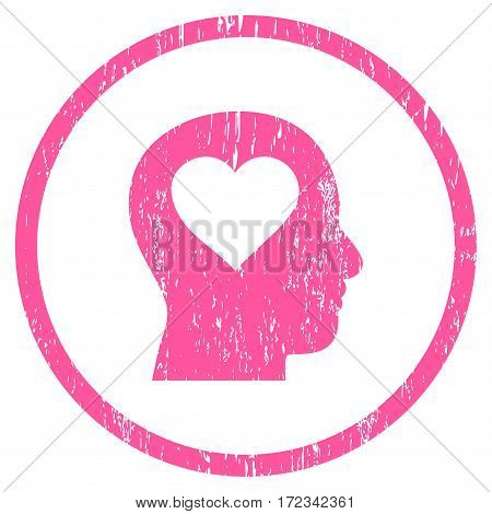 Love In Head grainy textured icon for overlay watermark stamps. Rounded flat vector symbol with scratched texture. Circled pink ink rubber seal stamp with grunge design on a white background.