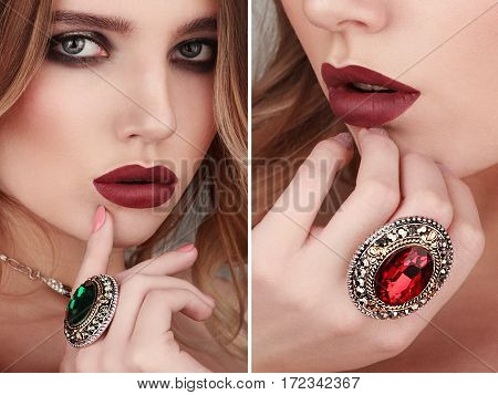 Collage Of Two Closeup Beauty Portraits Of Young Woman Wearing Ring With Green And Red Gemstone. Add