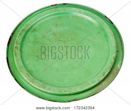Old grungy green cooking pot lid isolated on white background