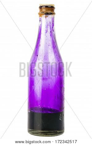 Old bottle with potassium permanganate isolated on white background
