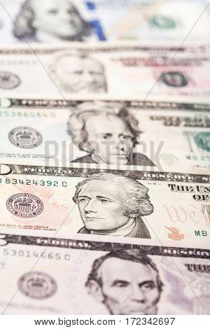 Close up view of dollar banknote. Studio shot