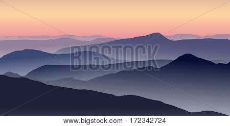 Misty sunrise in the blue mountains. Vector illustration.