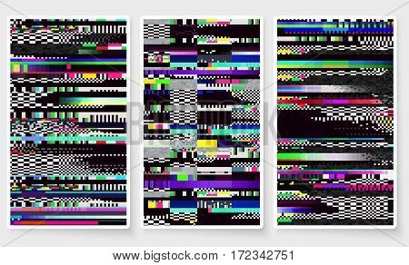 Glitch Screen Fail Mobile Device Data Error Wallpapers Set Bright