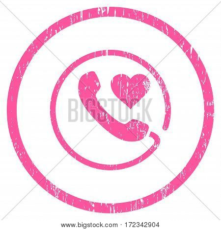 Love Phone grainy textured icon for overlay watermark stamps. Rounded flat vector symbol with dirty texture. Circled pink ink rubber seal stamp with grunge design on a white background.