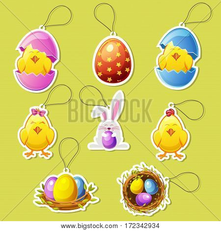 Pack cute cartoon icon stickers for Easter holiday