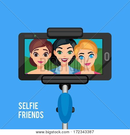 Selfie photo template with young girls stick holding phone on blue background isolated vector illustration