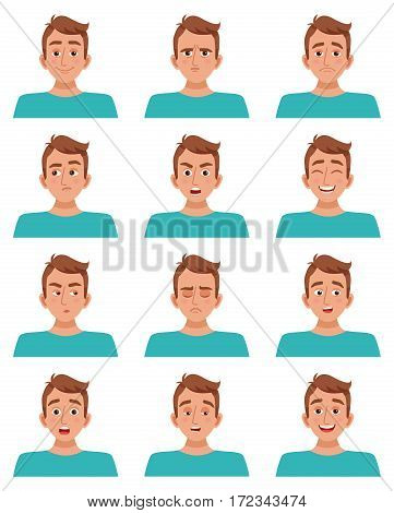 Male avatar cartoon guy character set of facial expressions smile laughter anger fear sadness happiness surprise vector illustration