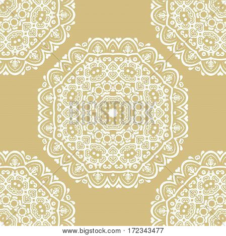 Classic seamless vector gilden and white pattern. Traditional orient ornament. Classic vintage background